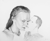 Tongue Kiss (Lips), 2008 - pencil on paper - 35.5 x 43.2 cm (14 x 17 in)