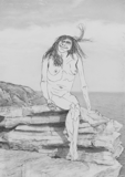 Woman on Rocks (Sky), 2010 - pencil on paper - 21.5 x 31 cm (8 ½ x 12 ¼ in)