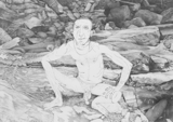 Man on Rocks (Squat), 2011 - pencil on paper - 30.5 x 42.8 cm (12 x 16 ¾ in)